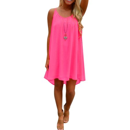 Mini Dress for Women Plus Size Casual Summer Short Sleeveless Strap Loose Asymmetrical Hem Mini Dresses](Plus Size 20s Dress)