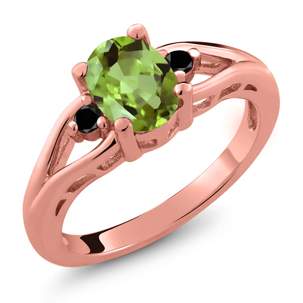 1.21 Ct Oval Green Peridot and Diamond Gold Plated Sterling Silver Ring