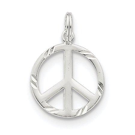 Peace Symbol Charm - Sterling Silver Diamond-Cut Peace Symbol Charm