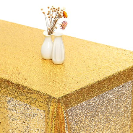 Gold Sparkly Bling Glitter Sequin Fabric Tablecloth Cover 60''x144'' Wedding Dessert Banquet Dinning Table Cloth Cover Photography Background Backdrop 5x12FT