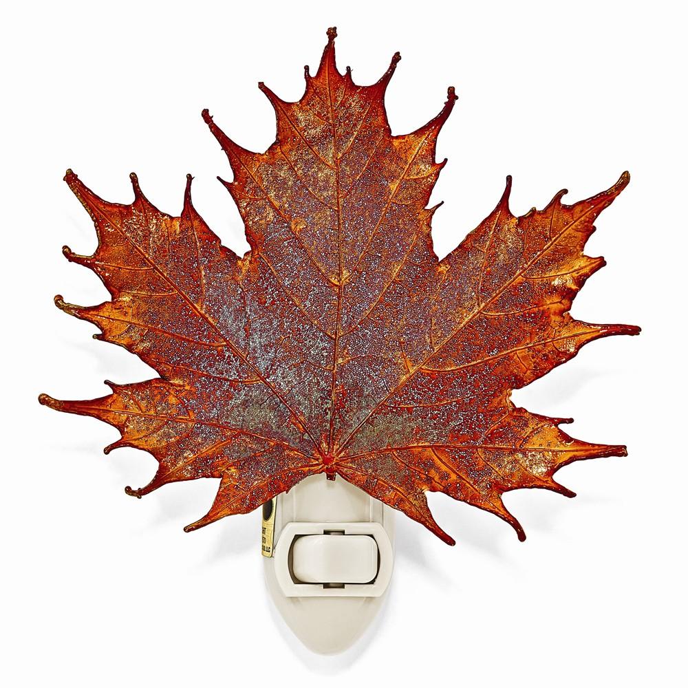 Iridescent Copper Dipped Sugar Maple Leaf Nightlight