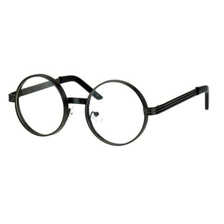 Mens Steampunk Victorian Thick Metal Round Circle Lens Eyeglasses (Circle Eyeglass Frames)