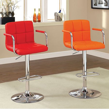 Corfu Contemporary Bar Stool With Arm In Red ()