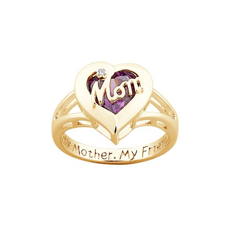 (Family Jewelry Personalized Mother's Sterling Silver with 18K Gold Overlay