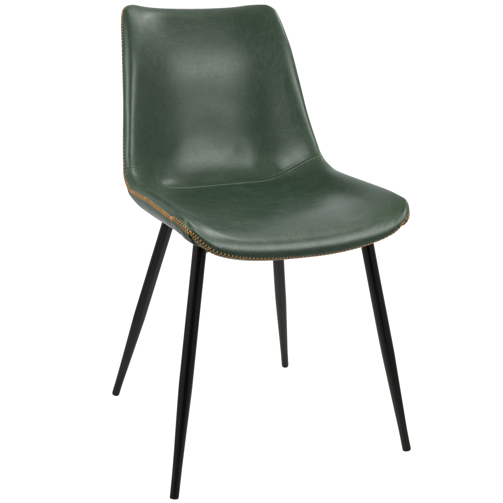 Durango Contemporary Dining Chair In Black With Green Vintage Faux Leather By Lumisource Set Of 2 Walmart Com Walmart Com