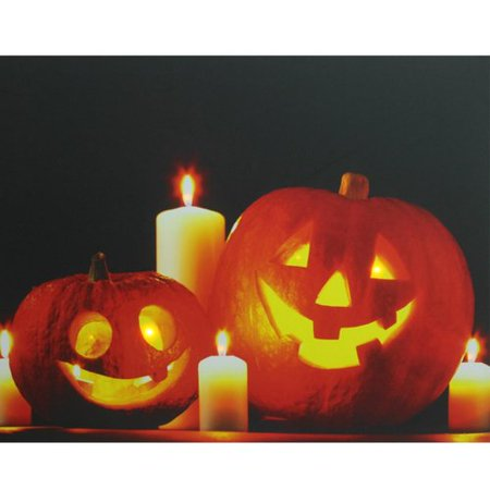 Northlight Seasonal Halloween Jack-o'-Lanterns Battery Operated LED Graphic Art on Canvas - Calvas Halloween