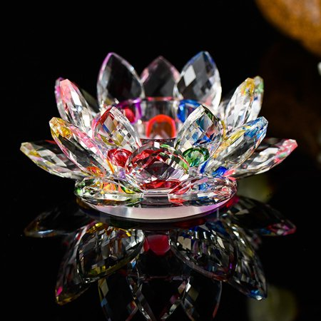 7 Colors Crystal Glass Lotus Flower Candle Tea Light Holder Buddhist (Tea Light Holder Case)