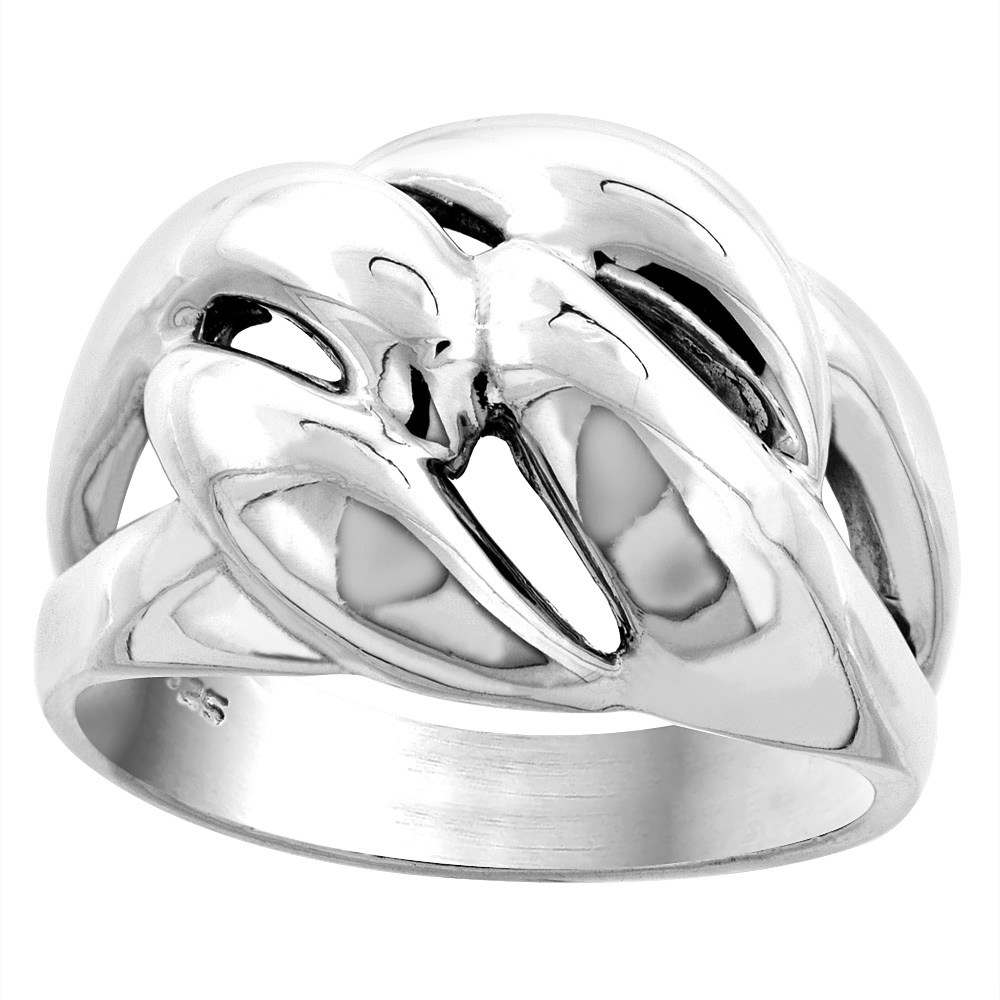 Sterling Silver Domed Love Knot Ring 5/8 inch wide, sizes 5 - 14