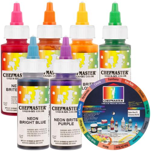 6 Color Chefmaster Liqua-Gel Cake Coloring Set, 2.3 oz. NEON Kit by US Cake