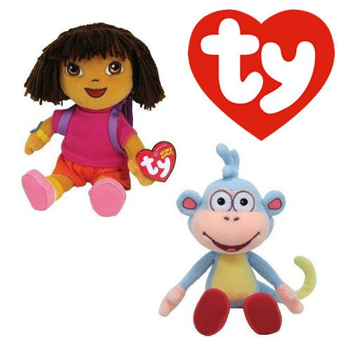 "Cp New Ty Beanie Babies Baby (Dora & Boots) , Go Diego Go Dora the Explorer 6"" Plush... by"