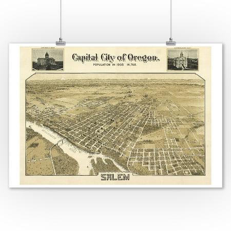 Salem, OR Panoramic Map - 1905 (9x12 Art Print, Wall Decor Travel Poster)