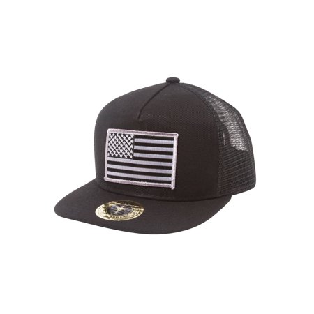 - Top Headwear USA Flag Flat Bill Trucker Mesh Snapback Hat
