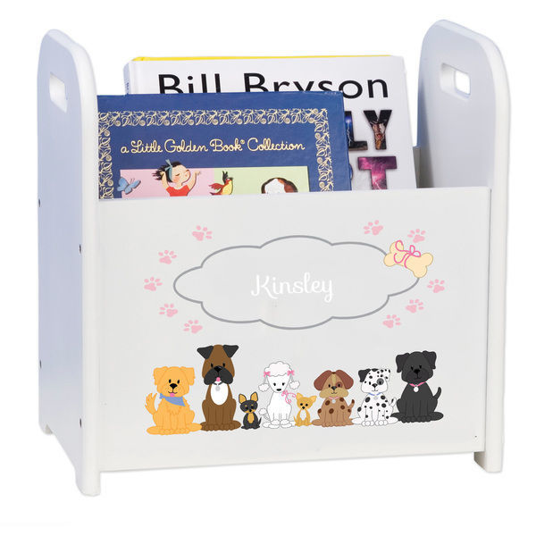 Personalized Pink Dogs White Book Caddy and Rack