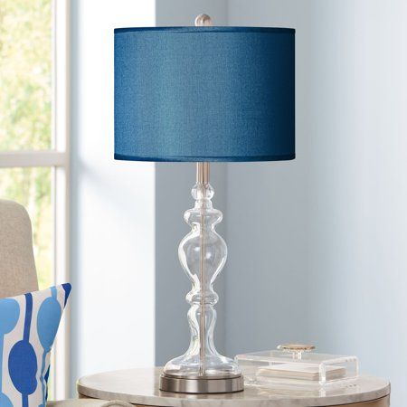 Possini Euro Design Modern Table Lamp Apothecary Clear Glass Chrome Blue Polyester for Living Room Bedroom Family