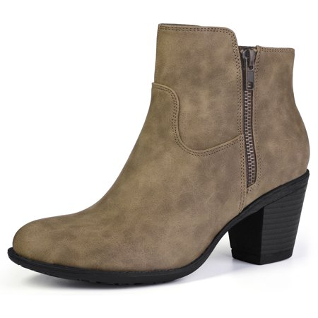 Unique Bargains Women's Stacked Chunky Heel Round Toe Ankle Boots Taupe (Size 7)