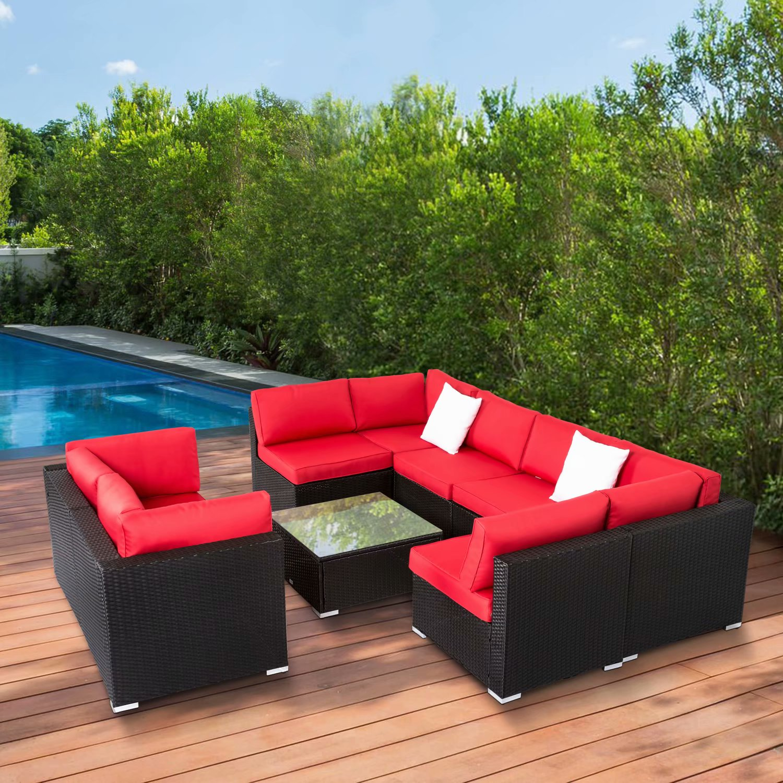 Kinbor 9pcs Outdoor Patio Furniture Sectional Pe Wicker ...