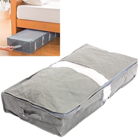 Jeteven Zipped Under Bed Organizer The Storage Bag Box Gray For Clothes Blankets