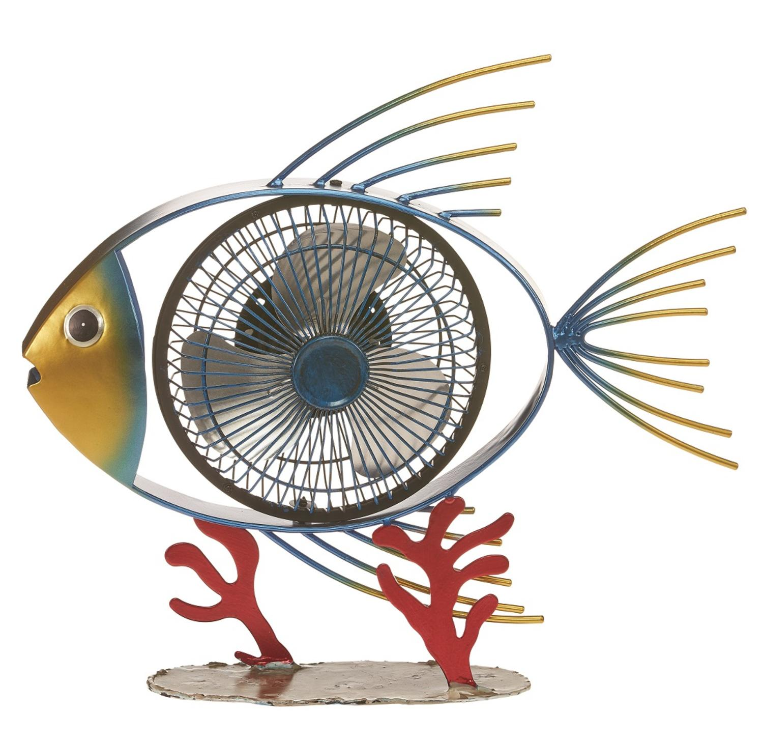 "15"" Blue and Golden Yellow Tropical Fish Handcrafted Portable USB Table Top Fan"
