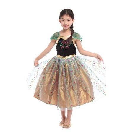 Kids Girls Elsa Frozen Dress Cosplay Costume Princess Anna Party Fancy Dresses - Anna Frozen Dress