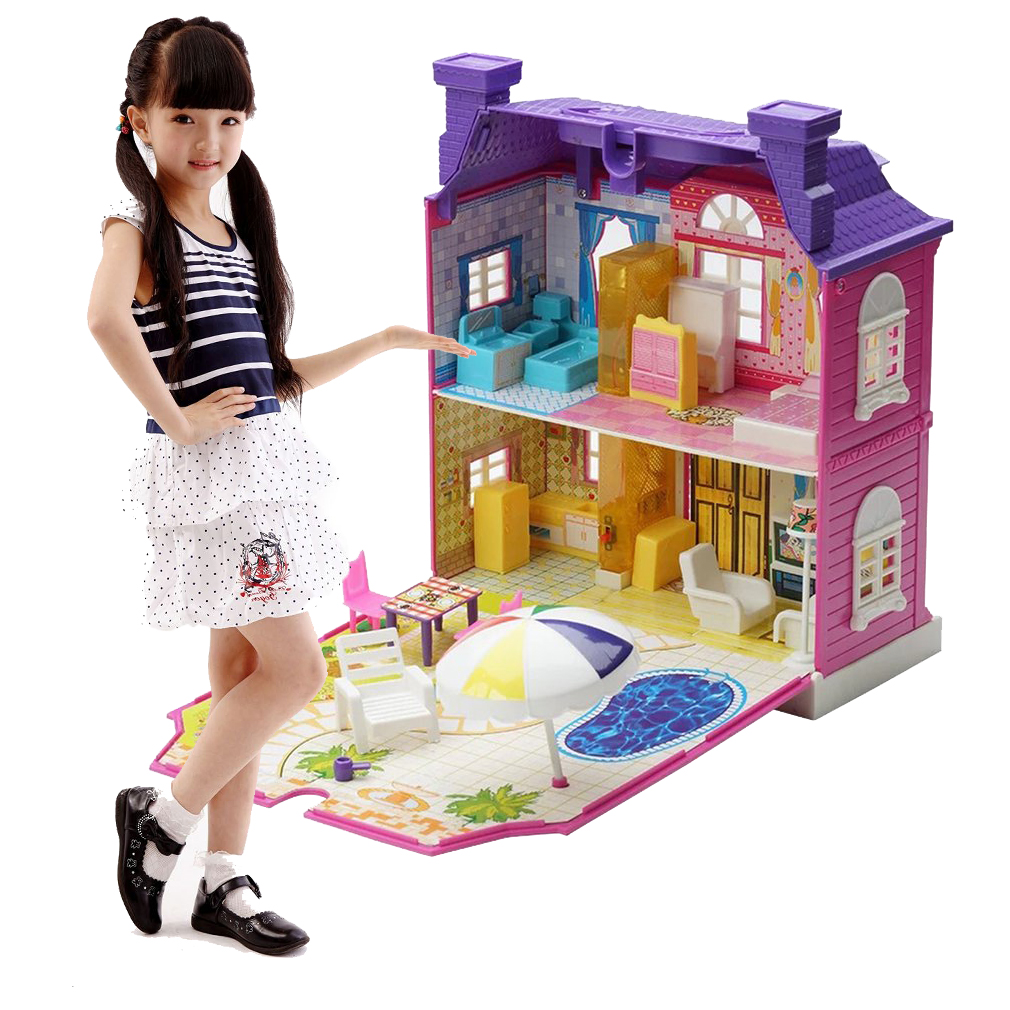 DIY Doll House With Furniture Miniature House Girl Gift Luxury Simulation  Dollhouse Assembling Toys For Kids