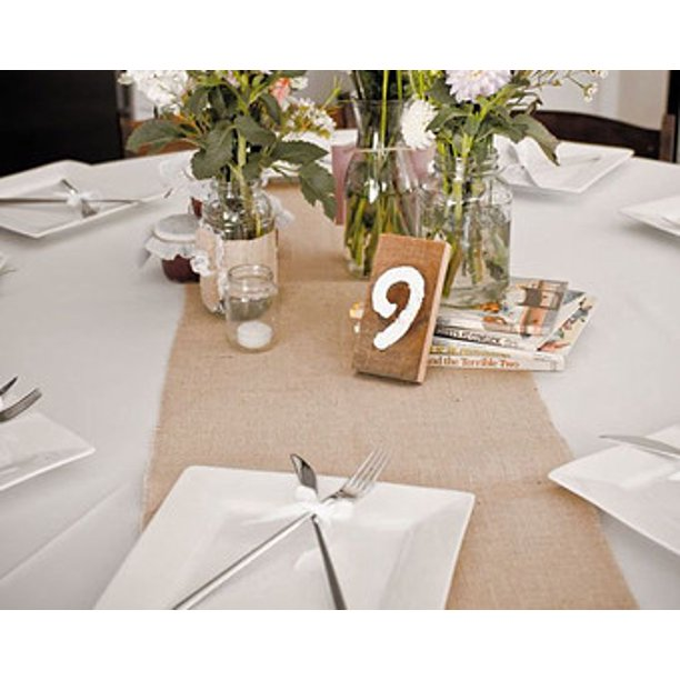 Burlap Table Runner 90 X12 For Rustic, Burlap Runners On Round Tables