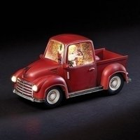 "6"" Santa in Swirl Red Truck with Warm White Light - Battery Operated"
