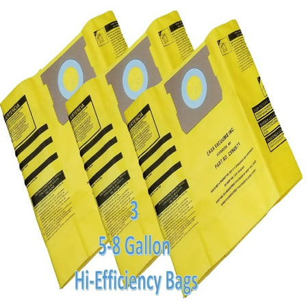 CASA VACUUMS replacement for Shop-Vac 5-8 Gallon HIGH EFFICIENCY Disposable Collection Bag CV9067100, replaces Genuine Part #'s Type H High Efficiency 9067100 & Type E 9066100, 3-Pack