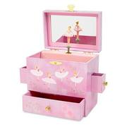 Ballerina Musical Jewelry Box with 3 Drawers, Pink Rose Design, Swan Lake Tune