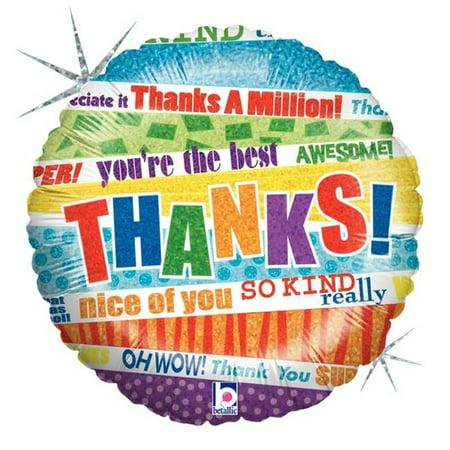Betallic 81252 9 in. Lots O Thanks Holo Flat Foil Balloon](Thank You Balloon)