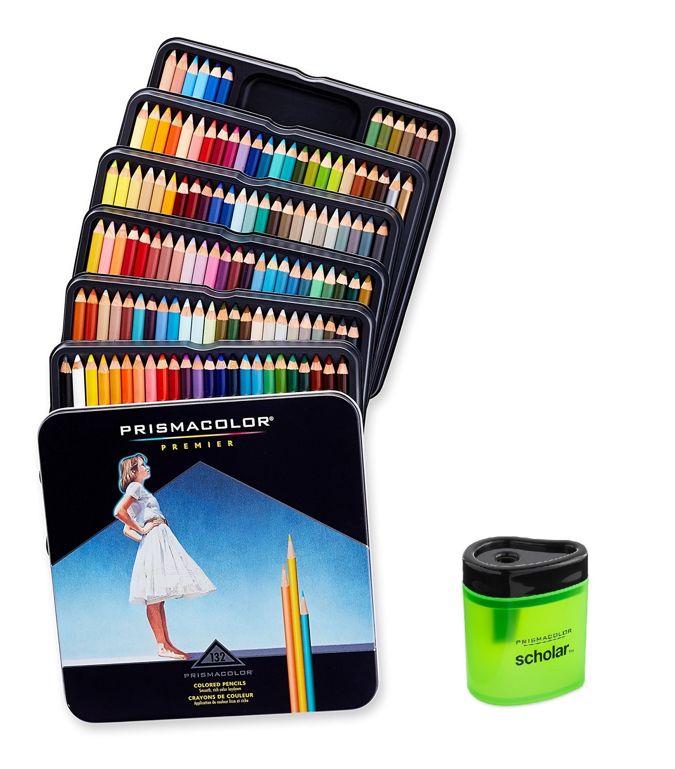 Prismacolor Premier Colored Woodcase Pencils 12 Assorted Colors with Pencil Sharpener
