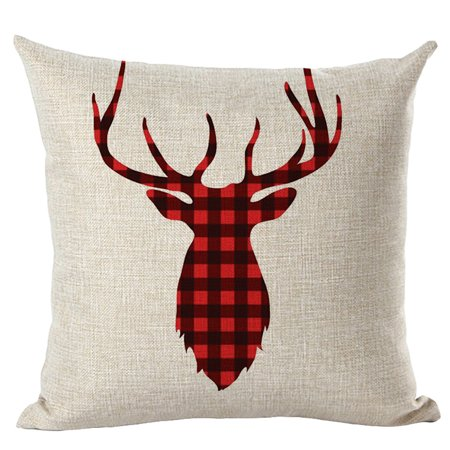 Merry Christmas Pillow Cases Linen Sofa Cushion Cover Home Decor Pillow Core ()