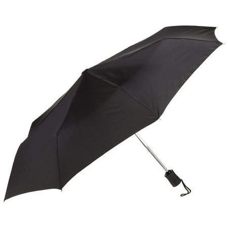 Black Umbrella, 42 inches Rain Snow Sun Travel Mini Folding Compact Men