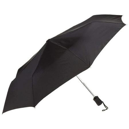 Black Umbrella, 42 inches Rain Snow Sun Travel Mini Folding Compact Men Women ()
