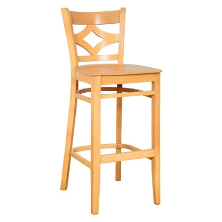 Curtain Back Bar Stool in Natural with Wood - Uselect Natural Wood