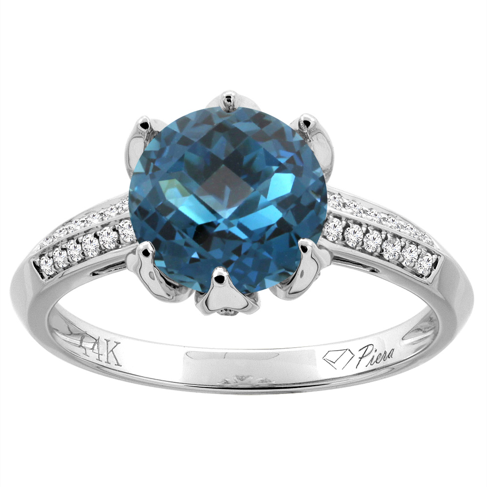 14K White Gold Natural Blue Sapphire Ring Round 8 mm Diamond Accents, size 5 by Gabriella Gold