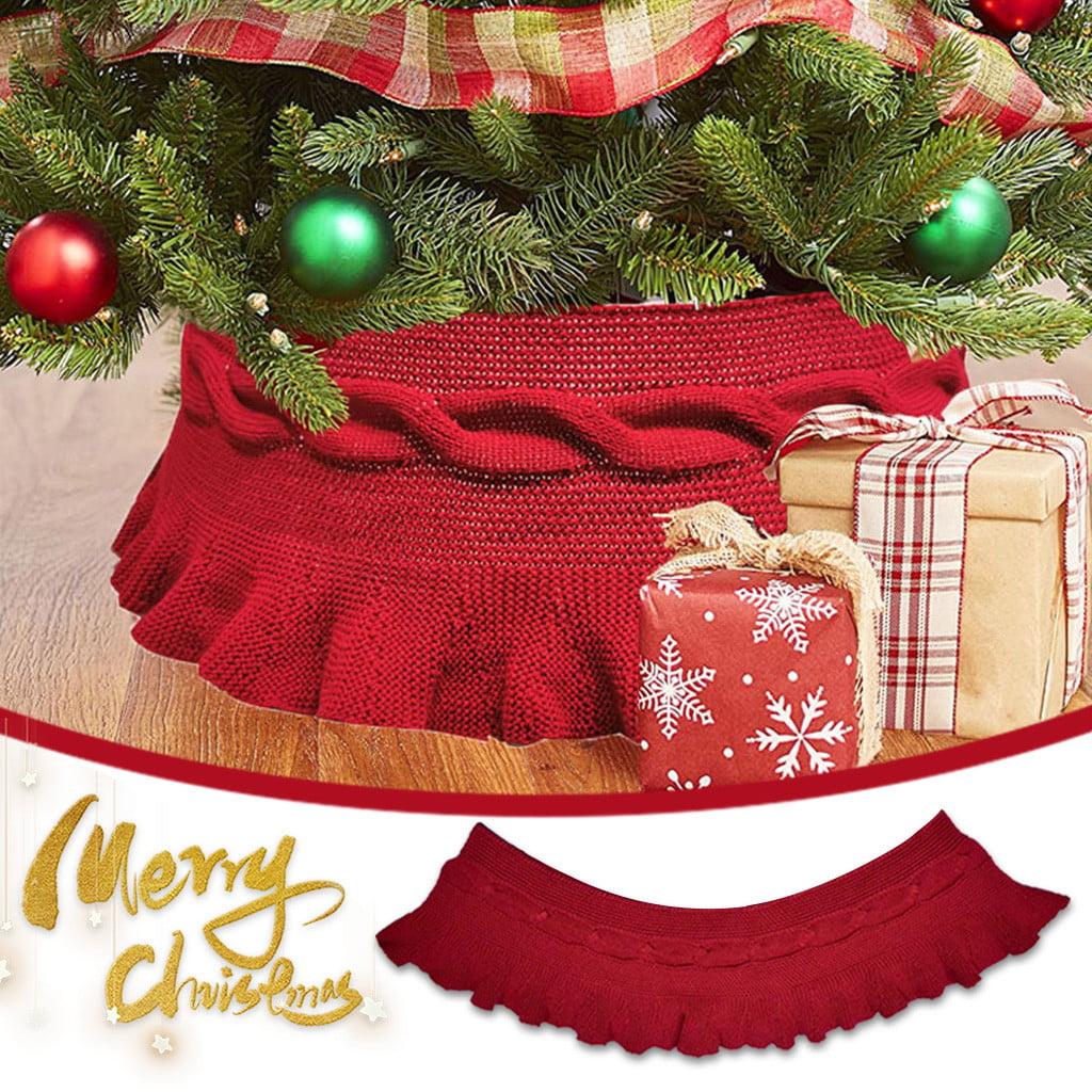 Acrylic Top Grade Knitted Christmas Tree Skirt Apron Christmas Tree Ornament Walmart Com Walmart Com