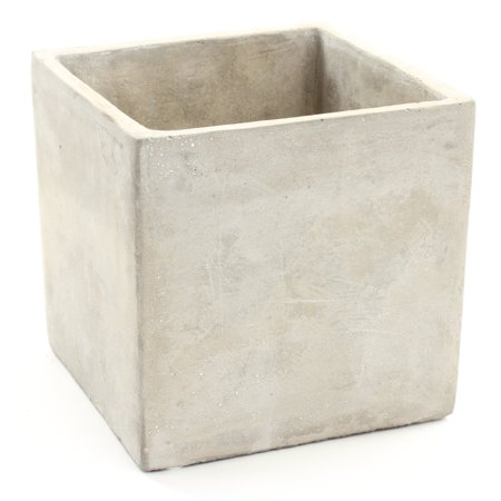 Koyal Wholesale Concrete Effect 5-Inch Square Cube Vase for Concrete Wedding Centerpieces, Concrete Wedding Decorations - Halloween Decorations For Office Cube