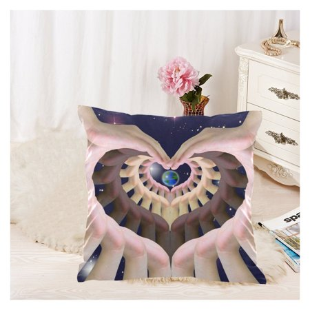 ZKGK Galaxy Space Zippered Cushion Pillowcase 18 x 18 ( Twin Sides ),Love Symbol Humans Hand World Universe Star Pillow Cases Cover Set Shams Decorative for Couch - World Stars
