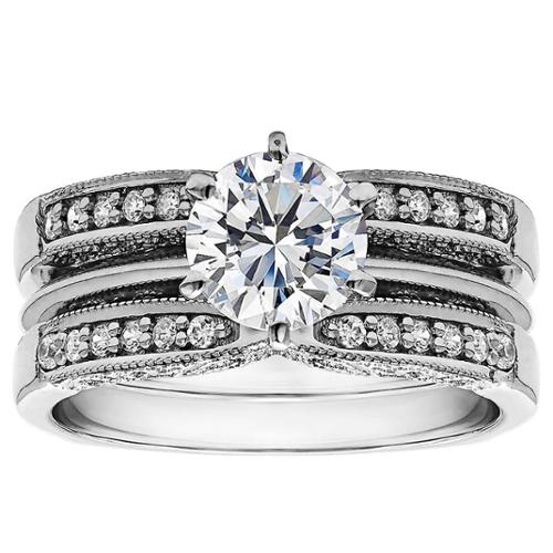 Twobirch  Sterling Silver 1ct Round Cubic Zirconia Solitaire Wedding Ring and Guard Set