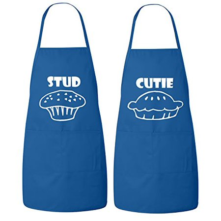 FASCIINO Set of Stud Muffin and Cutie Pie His and Hers Couples Apron Valentines Wedding Bridal Gift 2pcs (White Print)