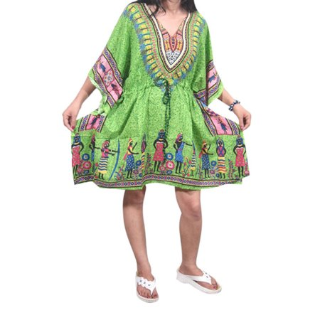Mogul Women's Kaftan Top Dashiki Print Green V-Neckline Beach Cover Up Dress