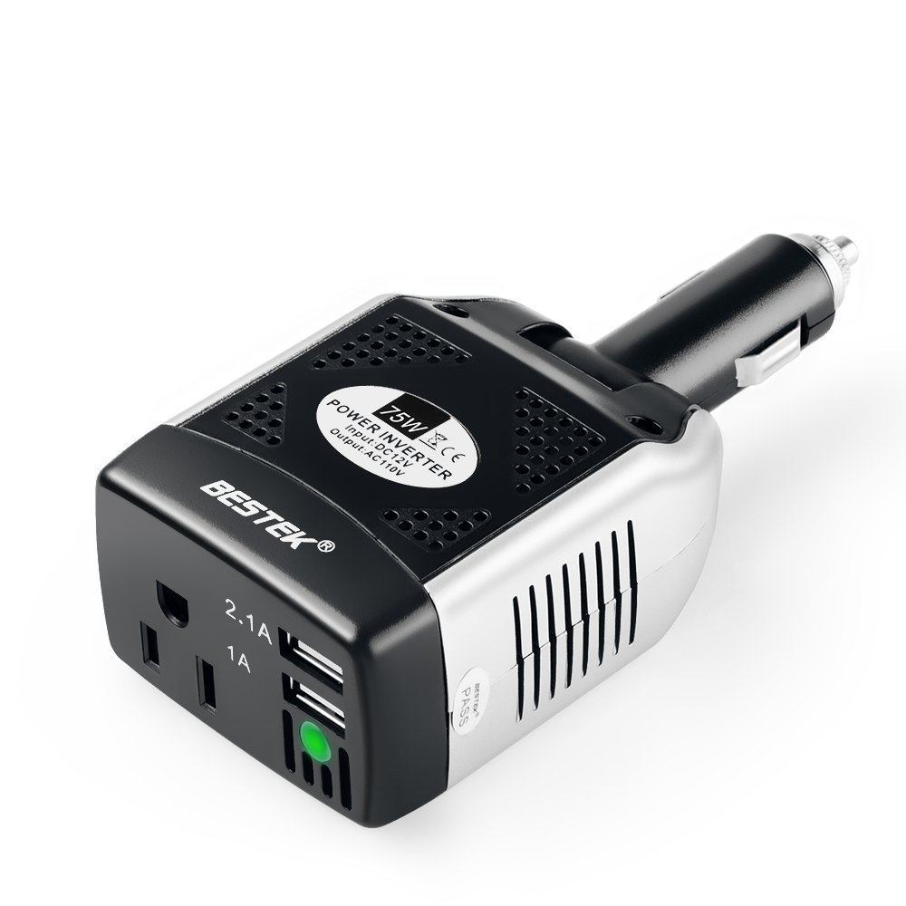 BESTEK 75W DC 12V to 110V AC Power Inverter with 3.1A 2 USB Ports