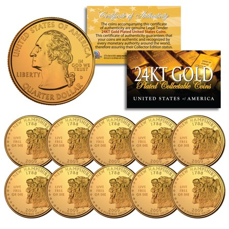 2000 New Hampshire State Quarters US Mint BU Coins 24K GOLD PLATED (LOT of 10) State Quarters Us Coins