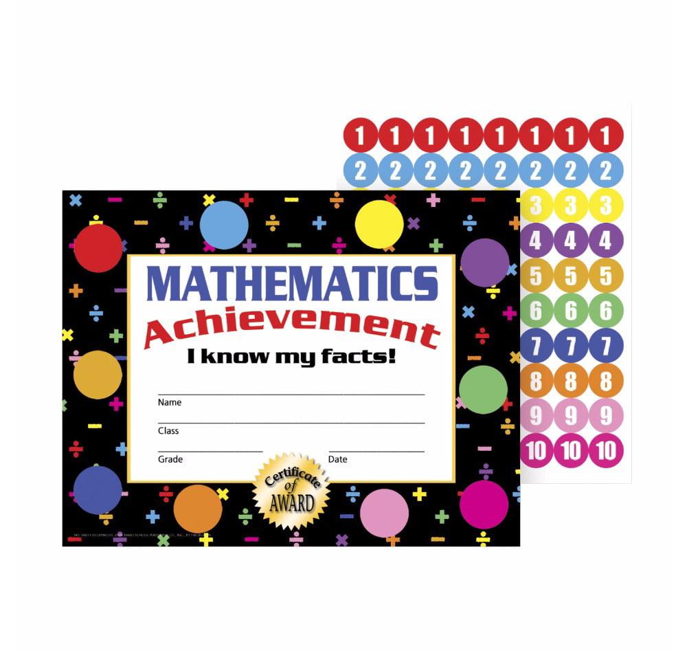 Hayes Mathematics Achievement Stick-To-It Award Certificate