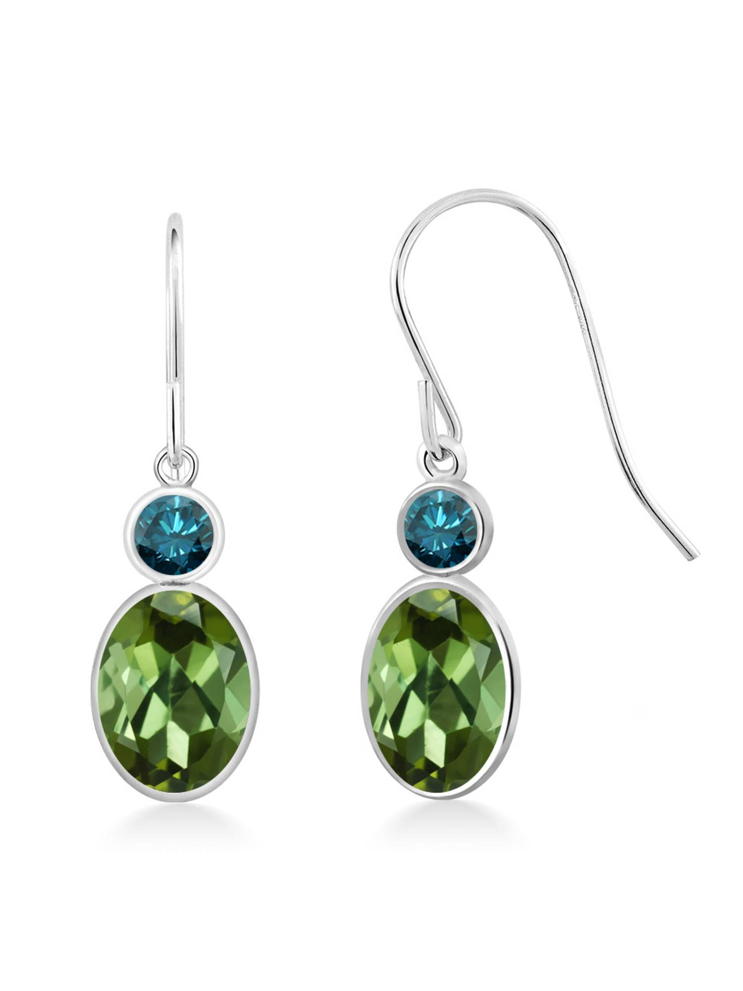 1.94 Ct Oval Green Tourmaline Blue Diamond 14K White Gold Earrings by