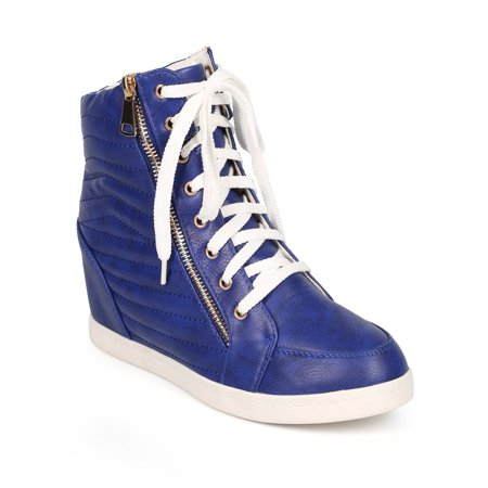Liliana CI37 Women Quilted Leatherette Round Toe High Top Wedge Sneaker