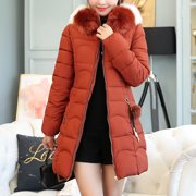 Roseonmyhand Women Hooded Solid Outwear Warm Long Thick Fur Cotton Parka Slim Jacket Coat