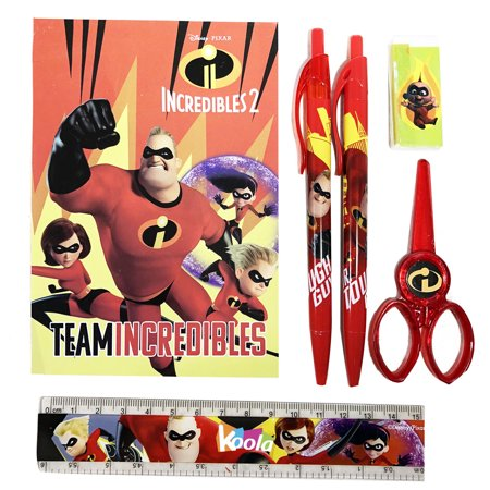 6pc Disney Incredibles 2 Stationary Set Party Favor School Supplies Gift Red