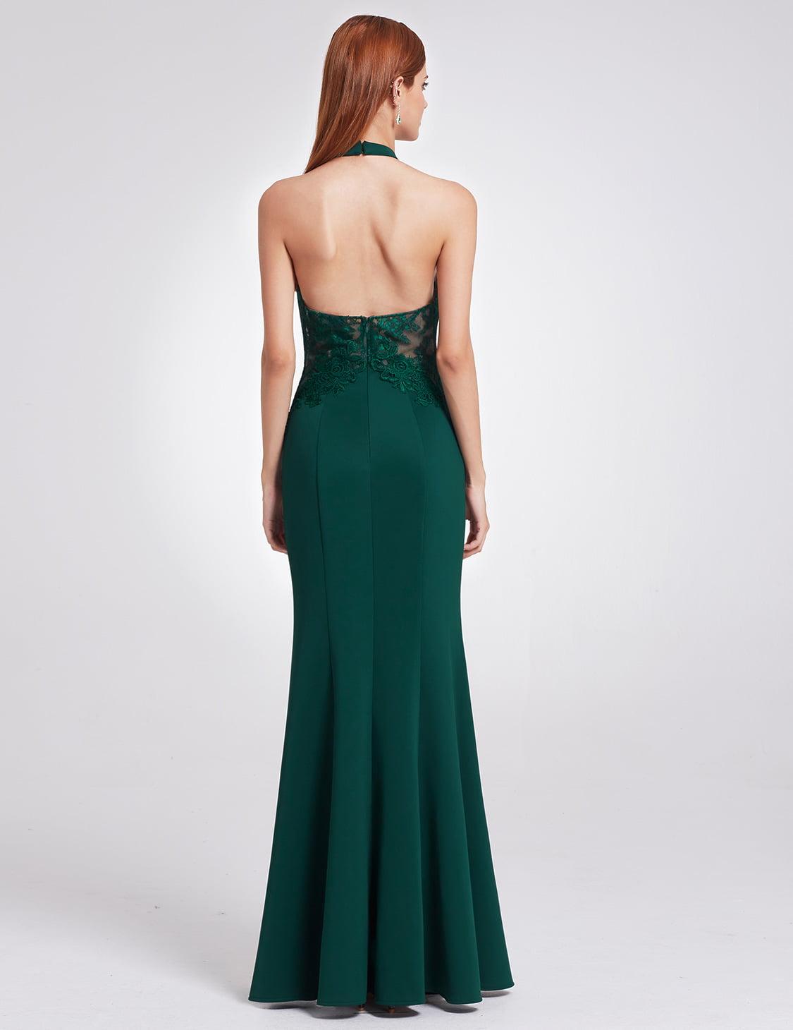 US Long Plus Halter Lace Applique Gown Ball Formal Evening Party Dresses 07189