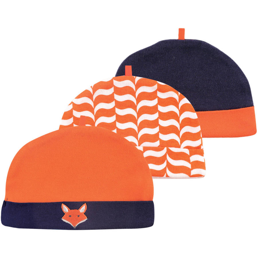 Yoga Sprout Newborn Baby Boys Caps 3-Pack - Fox, 0-6 months